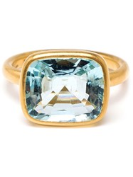 Marie Helene De Taillac 18K Yellow Gold Aquamarine Ring Blue