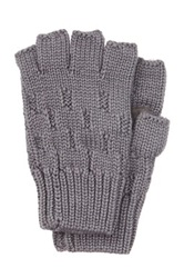 Rogue Knit Fingerless Glove With Suede Gray