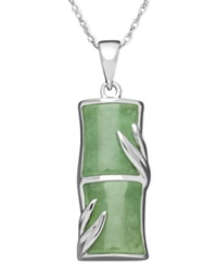Macy's Sterling Silver Necklace Jade Bamboo Pendant