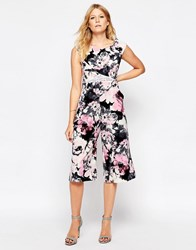 Liquorish Culotte Jumpsuit With Lace Insert In Floral Print Pink Floral Print Multi