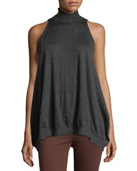 Brunello Cucinelli Sleeveless Turtleneck Cashmere Blend Swing Sweater Charcoal