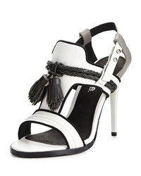 L.A.M.B. Voice Leather Tassel Sandal White Gray