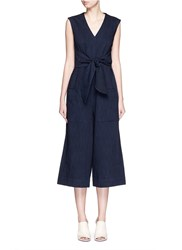 Tibi Sash Belt Cropped Wide Leg Denim Jumpsuit Blue