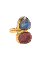 Ottoman Hands Two Stone Vertical Ring