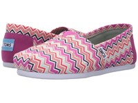 Toms Seasonal Classics Pink Canvas Chevron Women's Slip On Shoes