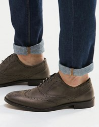 Asos Oxford Brogue Shoes In Grey Leather Grey