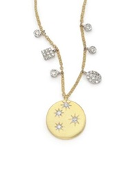 Meira T Diamond And 14K Yellow Gold Starburst Disc Pendant Necklace