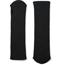 Dries Van Noten Ribbed Wool Fingerless Gloves Black
