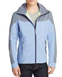 Scotch And Soda Melange Color Block Hooded Surf Jacket Light Blue