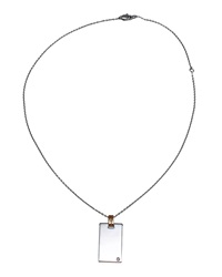 Damiani 18K Diamond Dog Tag Pendant Necklace Gold