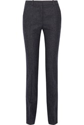 Victoria Beckham Cropped Checked Wool Slim Leg Pants Midnight Blue