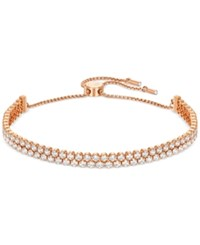 Swarovski Pave Crystal Slider Bracelet Rose Gold Clear