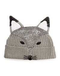 Markus Lupfer Sequin Fox Face Beanie Light Gray