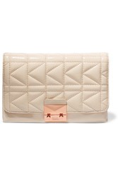 Karl Lagerfeld Quilted Patent Leather Clutch White