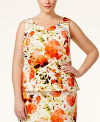 Kasper Plus Size Floral Print Scuba Top Orange