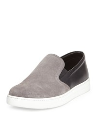 Prada Leather Suede Slip On Sneaker Men's Size 7 8D Grey Black