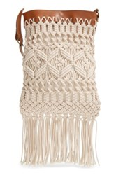 Straw Studios Crochet Crossbody Bag Beige
