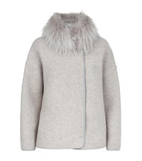 Fabiana Filippi Fox Fur Trim Boucle Jacket Female Light Grey