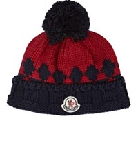 Moncler Men's Fair Isle Ribbed Virgin Wool Beanie Navy