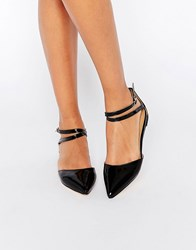 London Rebel Two Part Ankle Strap Flat Shoes Black Pu