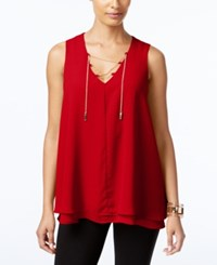 Ny Collection Chain Lace Up Top Scarlet Sage