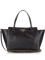 Valentino Rockstud Smooth Leather Tote Black