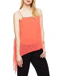 Vince Camuto Dotted Draped Tank Fiery Coral
