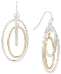 Touch Of Silver Pave Orbital Drop Earrings In 14K Gold Plated And Silver Plated Metal Two Tone