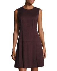 Bagatelle Faux Suede Sleeveless A Line Dress Burgundy