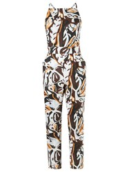 Andrea Marques Printed Jumpsuit Brown