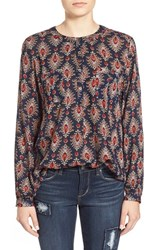 Junior Women's Sun And Shadow Print Peasant Top