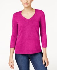 Karen Scott Petite V Neck Sweater Only At Macy's Raspberry