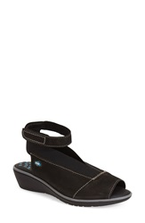 Cloud 'Saucy' Ankle Strap Wedge Women Black Leather