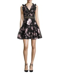 Rebecca Taylor Metallic Floral Fil Coupe Fit And Flare Dress Camellia Black Camellia