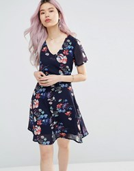 Yumi Tea Dress In Floral Lace Tie Back Dress Navy