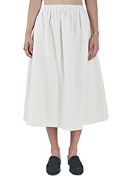 Renli Su Long Floral Embroidered Pleat Skirt White