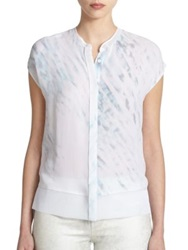 Elie Tahari Silk And Mesh Dylan Blouse White