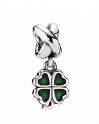 Pandora Design Pandora Dangle Charm Sterling Silver And Green Enamel Four Leaf Clover Moments Collection Silver Green