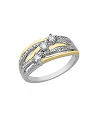 Lord And Taylor Diamonds Sterling Silver 14K Yellow Gold Ring Two Tone