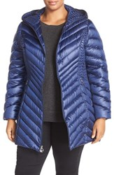 Laundry By Shelli Segal Plus Size Women's Side Panel Detail Hooded Down Coat Electric Blue