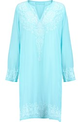 Melissa Odabash Pippa Embroidered Voile Coverup Blue