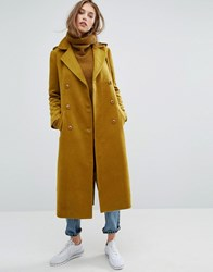 Missguided Premium Military Faux Wool Maxi Coat Olive Green