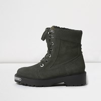River Island Womens Khaki Green Suede Chunky Lace Up Boots