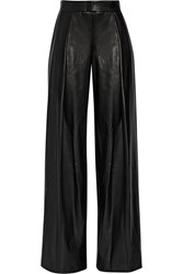 Dkny Faux Leather Wide Leg Pants Black
