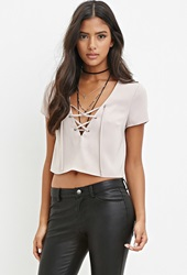 Forever 21 Lace Up Crop Top Taupe