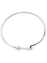 Miansai Silver Mini Anchor Hook Bangle Grey