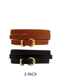 Asos 2 Pack Black Tan Skinny Waist And Hip Leather Belt Multi