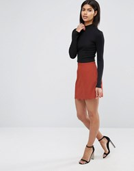 Asos A Line Mini Skirt With Scallop Hem Rust Red
