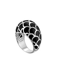 John Hardy Naga Silver Enamel Dome Ring With Black Enamel