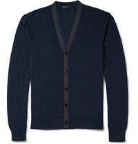 Etro Contrast Knit Wool Cardigan Blue